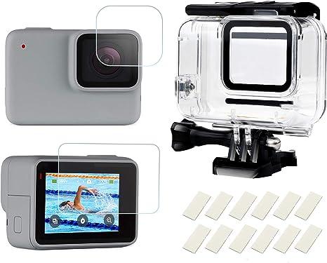 D&F Caja de Carcasa Impermeable Carcasa Protectora subacuática con Inserciones antivaho y Protector de Pantalla para GoPro Hero 7 Silver/White: Amazon.es: Electrónica