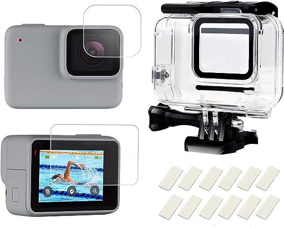 SHOOT Carcasa 30m Impermeable para GoPro Hero 7 Blanco/Plata,98ft Buceo Funda Protectora con Película de Pantalla Templada e Inserto Antiniebla para ...