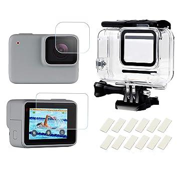 SHOOT Carcasa Impermeable para GoPro Hero 7 Blanco/Plata,98ft Buceo Funda Protectora con Película de Pantalla Templada e Inserto Antiniebla para GoPro ...