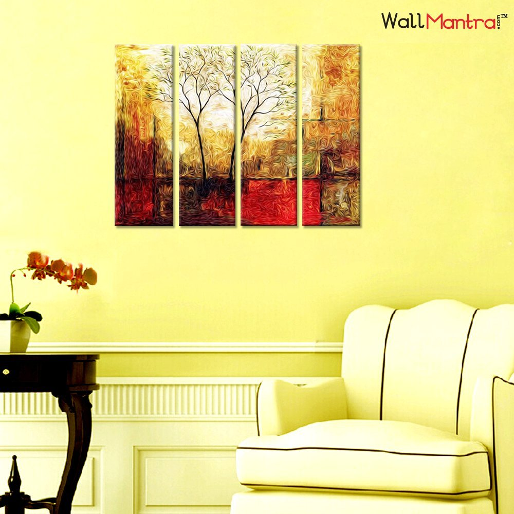 WallMantra Twin Tree Sepia Scenery Wall Painting / 4 Pieces Canvas ...