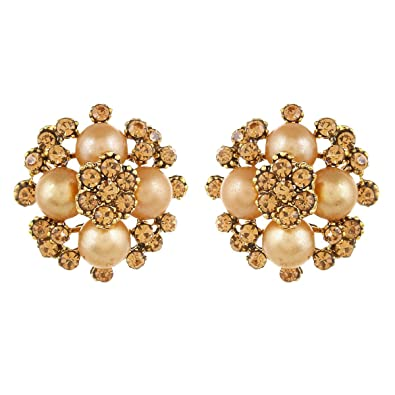 35a17beea Buy Anishop Beautiful copper Stone and Pearl studded Stud Tops earrings for  girls and women Online at Low Prices in India   Amazon Jewellery Store -  Amazon. ...