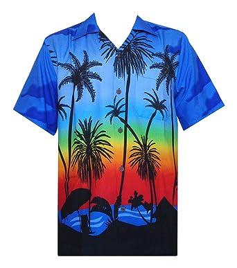 0ca948b2 Hawaiian Shirt 42 Mens Allover Coconut Tree Beach Aloha Party Dark Blue S