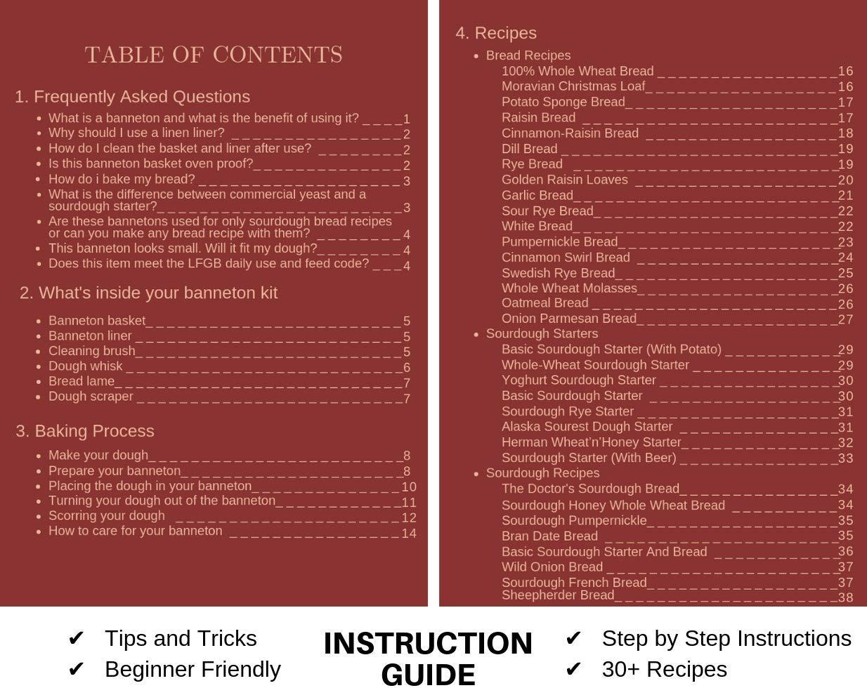 BreadBasics Banneton Proofing Basket   Premium Homemade Bread Starter Kit for Beginners   Includes Step by Step eBook, Bowl Scraper & Whisk, Lame, Brotform Liner, Cleaning Brush   Sourdough Supplies by BreadBasics (Image #6)