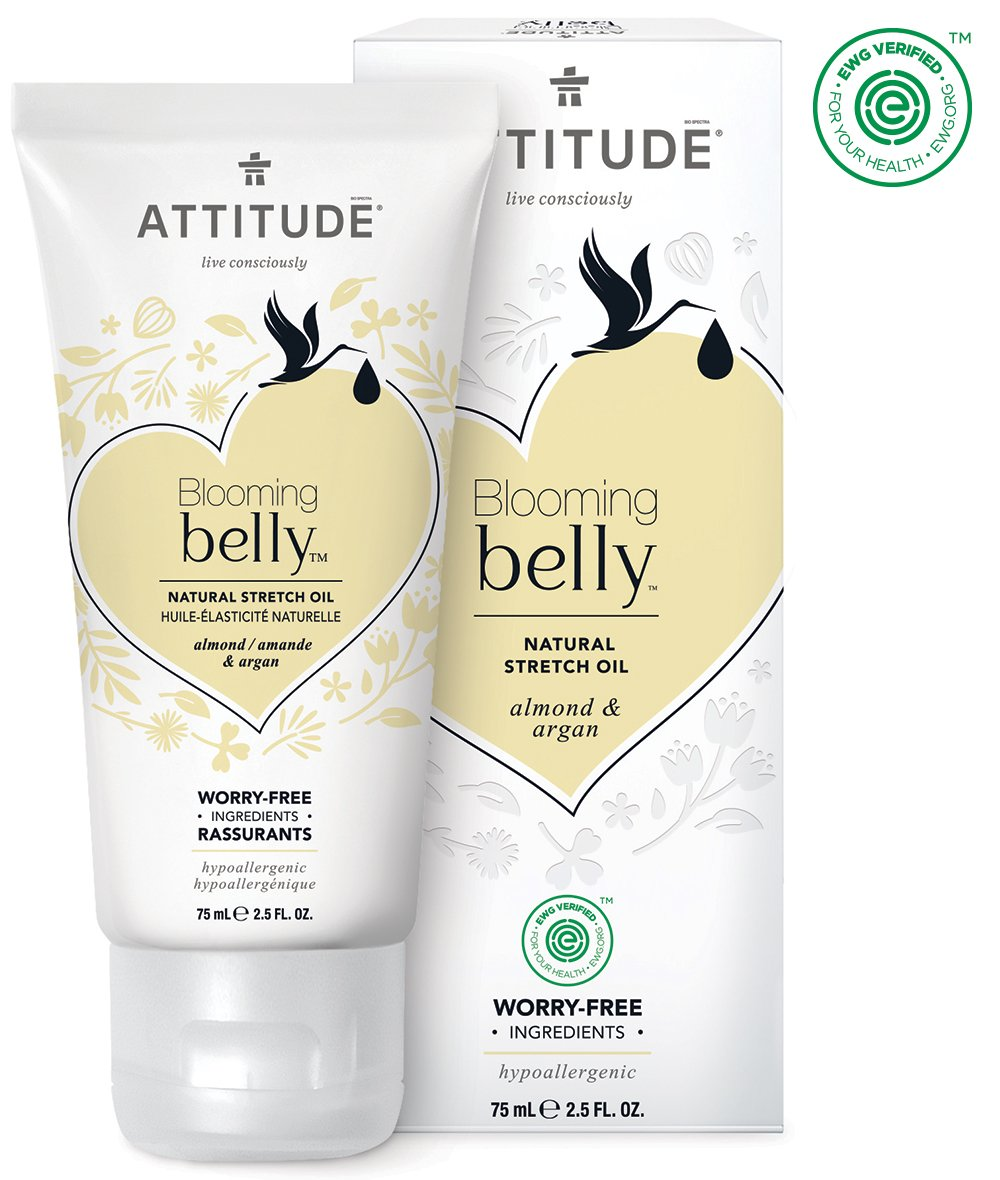 ATTITUDE Natural Pregnancy Stretch Oil: EWG Verified, Hypoallergenic & Dermatologist Tested - Blooming belly (2.6 oz) Threshold Enterprises LTD A18110