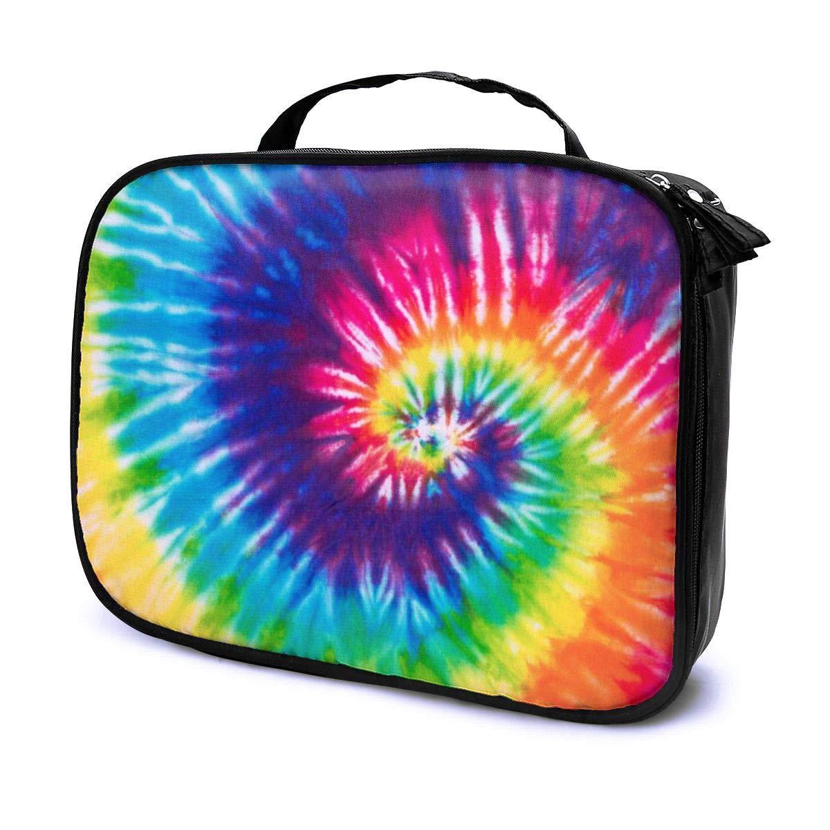 LOKIDVE Tie Dye Makeup Bag for Women Girls, Portable Travel Cosmetic Case Organizer, Removable Divider Toiletry Bag