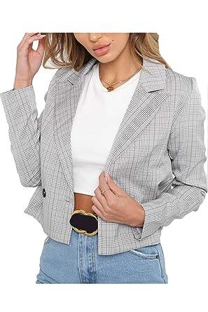 Mujeres Plaid Blazer Outercoat Traje De Manga Larga Slim Fit ...