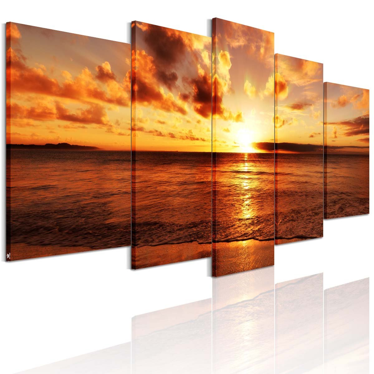アートパネル 完成品 インテリア 海 パネル アートフレーム 海 絵画 海 壁飾り ポスター 海 モダン 現代 海の景色 夜明けの海 5枚パネル B01MXEPZQL