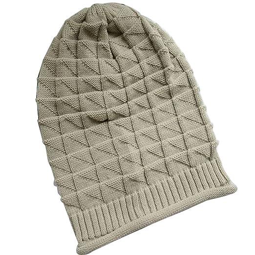 db83eb34169 Merryshop Slouchy Long Beanie Rhombus Knit Hat Cap for Winter Oversize ( Beige)