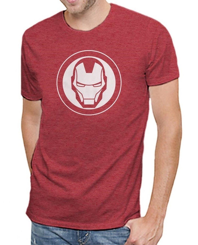 Marvel Iron Man Logo Men's Soft Red Heather T-Shirt (XL)