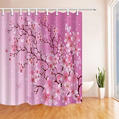 Cozy Pop Abstract Pink Peach Butterfly Flying White Bubble Pattern Shower Curtain 70x70 Inches Waterproof Mildew