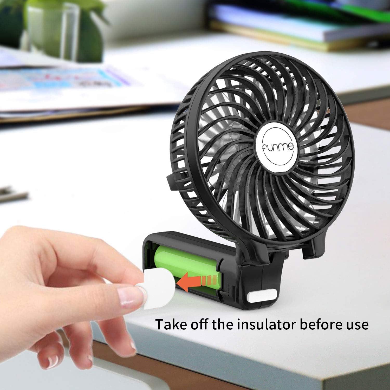 FUNME Mini Ventilador de Mano Ventilador Port/átil Plegable USB con Recargable 2600mAh LG Bater/ía y 3 Velocidades para Oficina Azul Hogar Viajes