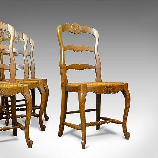 Juego de 4 sillas de Comedor francesas Antiguas, Campo ...