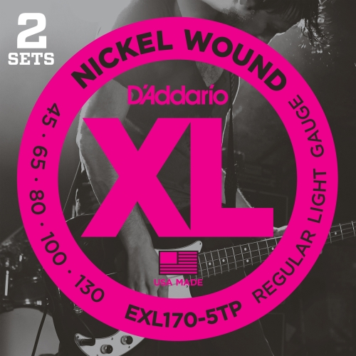 D'Addario EXL170-5TP Nickel Wound Bass Guitar Strings, Light, .045-.130, 2 Sets, Long Scale