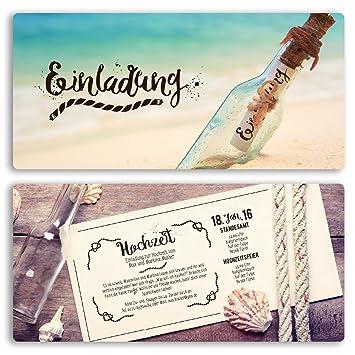 Außergewöhnlich (10 X) Hochzeitseinladungskarten Flaschenpost Flasche Vintage Einladungskarten  Hochzeit