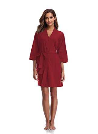 Amazon.com  Luvrobes Women s Cotton Knit Kimono Robe Lightweight ... 9edfffbc3