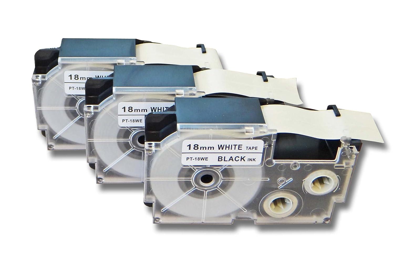 vhbw 3 x Cassettes à Ruban 18 mm pour Casio KL-60, KL-7000, KL-70E, KL-7400, KL-750E, KL-780 Remplace: Casio XR-18WE1, XR-18WE. VHBW4251156508834