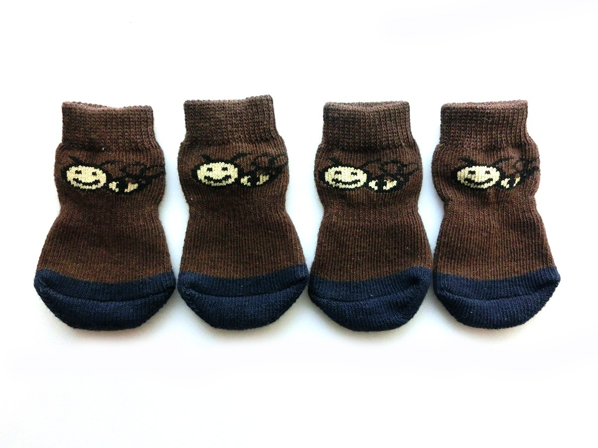 Xanday Anti-Slip Dog Socks, Paw Protectors for Indoor Wear, 4pcs (M, Brown)