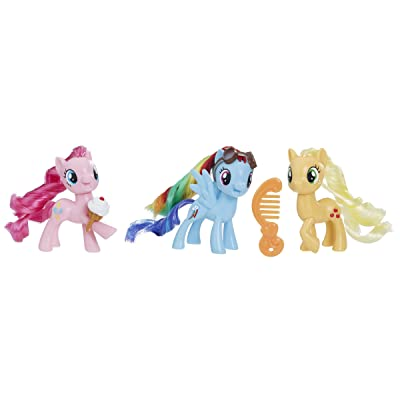 My Little Pony Toy Rainbow Dash, Pinkie Pie & Applejack 3-Pack, Intro to Friendship is Magic, Ages 3 and Up: Toys & Games