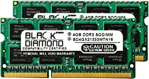 8GB 2X4GB Memory RAM for Lenovo ThinkPad T Series T410 204pin 1333MHz PC3-10600 DDR3 SO-DIMM Black Diamond Memory Module Upgrade