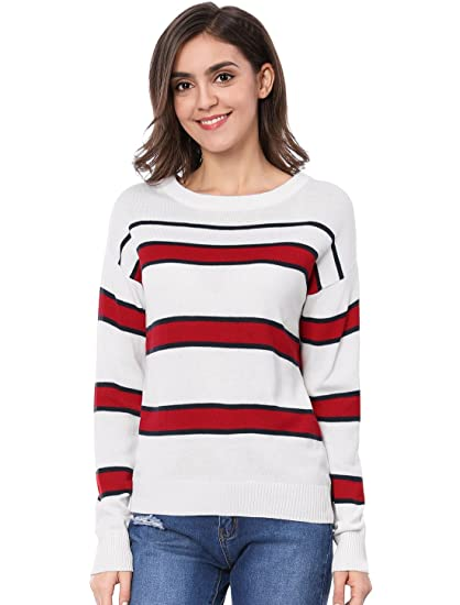 bf7d933ce50a Allegra K Women s Boat Neck Long Sleeves Contrast Striped Sweater XS Red  White