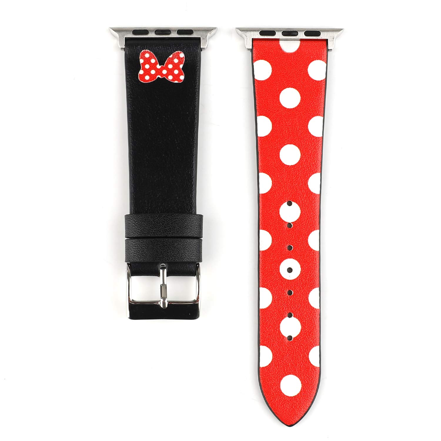 Lovely Polka Dot Leather Women Girls Replacement Band Compatible with Apple Watch Series 4 40mm and Series 3/2/ 1 38mm - Black & Red Bowknot