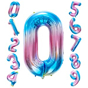 Siumir Globo de Número Globo Digital Gigante 40 Pulgadas Arcoiris Gradient Papel De Aluminio Globo Decoración de Fiestas de Cumpleaños (Número 0)