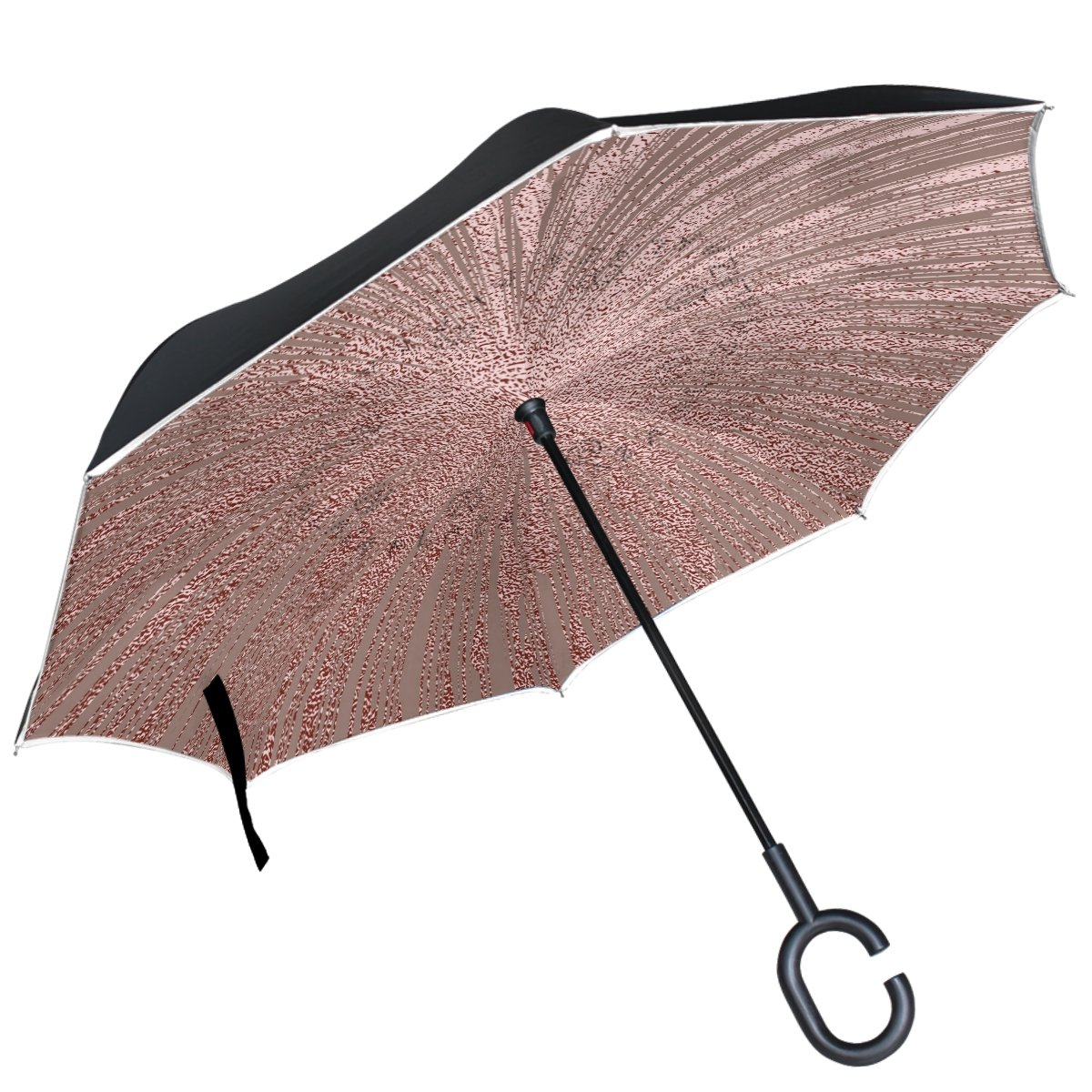 ALAZA Rose Gold Pink Glitter Spiral Inverted Double Layer Windproof Reverse Umbrella   B077HTY5C9
