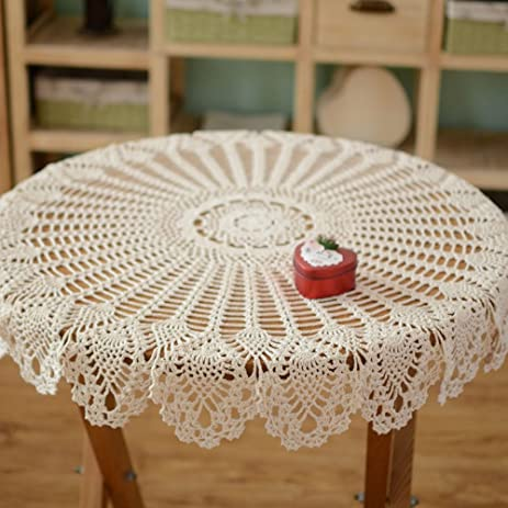 Bon Yazi Rustic Crochet Tablecloth White Cotton Handmade Crochet Lace Table  Cover Beige Color 35.4inch