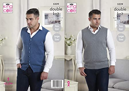 997d7be9476f6b Image Unavailable. Image not available for. Colour  King Cole Mens Double  Knitting Pattern Easy Knit V Neck ...