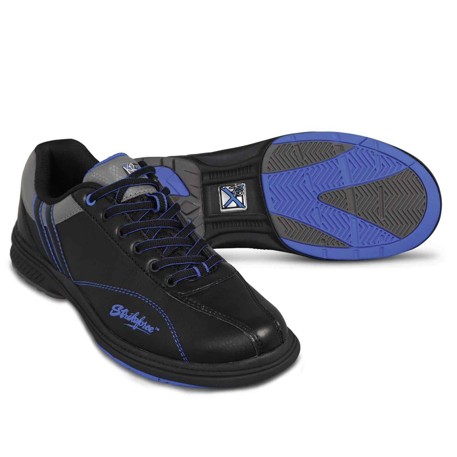 KR Strikeforce Men's Raptor Performance Wide Width Bowling Shoes, Black/Royal, Size 7
