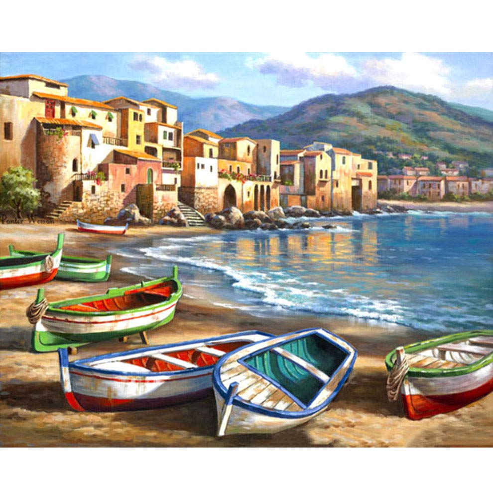 BERYART DIY Oil Painting Drawing, Paint by Number Kit for Adults Kids Beginner - Colorful Boat 16x20 inch (Without Frame)