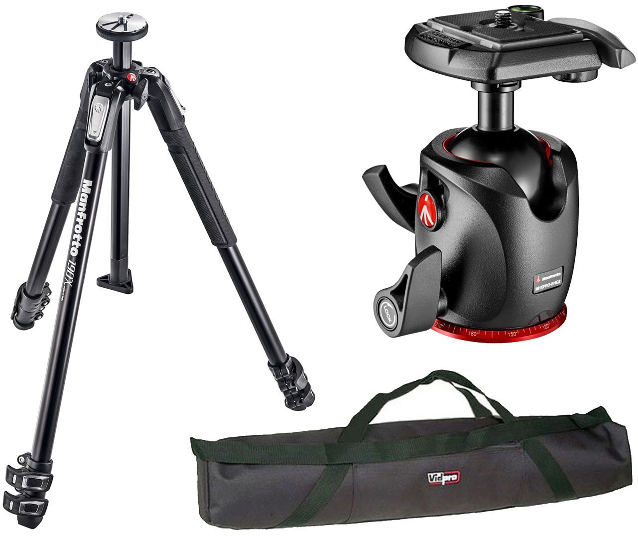"""Manfrotto MT190X3 3 Section Aluminum Tripod w/ Manfrotto XPRO Magnesium Ball Head And a 35"""" Padded Carrying Case"""