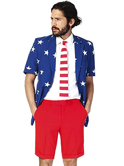 839e6094c Opposuits American Flag Suit Suit Red, White and Blue Outfit for Men Comes  with Pants, Jacket and Tie - Ideal for The 4th of July and Sports Games!: