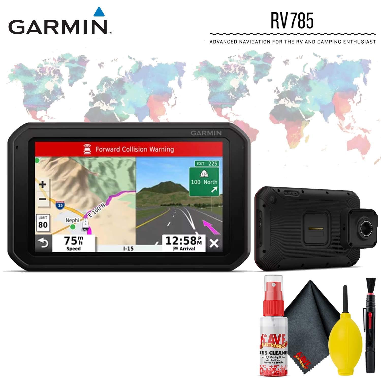 Garmin RV 785 & Traffic, Advanced GPS Navigator for RVs with Built-in Dash Cam, 7'' Touch Display and Voice-Activated Navigation Base Accessory Kit by Garmin