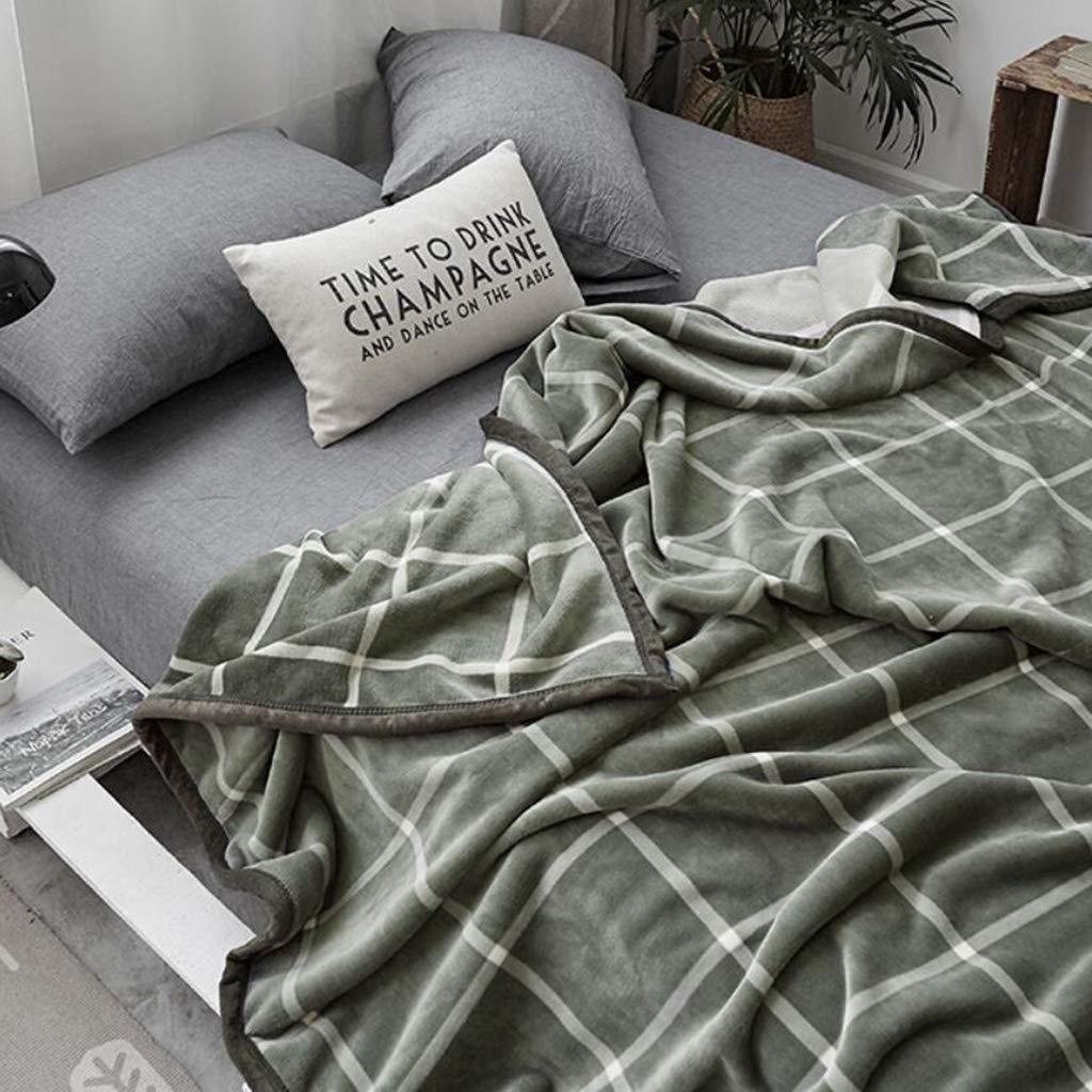 スーパー ソフト 元に戻せる状態 暖かい スロー 毛布,チェック 贅沢な ぬいぐるみ 軽量 ベッド ソファー ソファ 毛布 オール シーズン用- B07JX5219X Green 200x230cm(79x91inch)