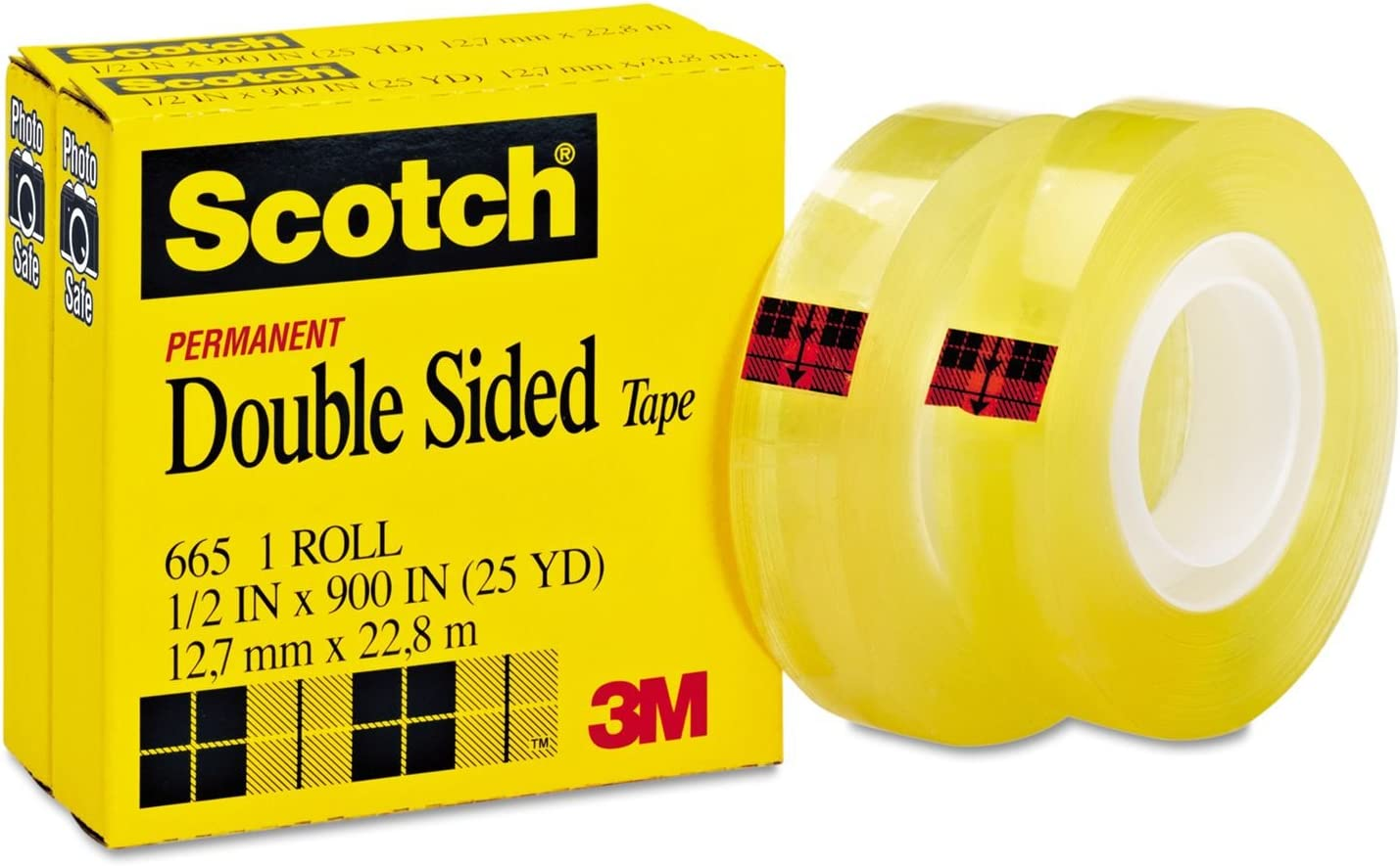 Scotch 665 Double-Sided Office Tape, 1/2 Inch x 900 Inches, 1-Inch Core, Clear, 8 Rolls
