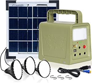 ECO-WORTHY Solar Powered Camping Generator with Panels Included, Portable Power Station Rechargeable Power Kit Backup Supply with Flashlights 3 LED Lights, 42 Wh Battery for Emergency, Hurricane, Home