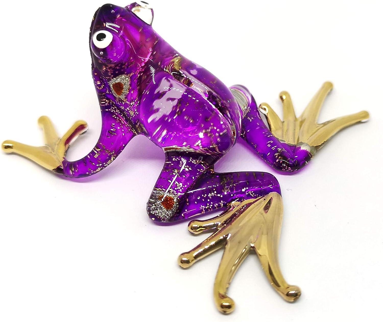 ZOOCRAFT Glass Purple Frog Figurine Miniature Hand Blown Animals Statue Garden Decoration Personalized Gift