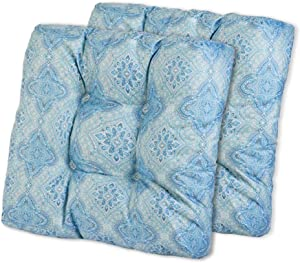 AAAAAcessories Outdoor/Indoor Water-Resistant Square Wicker Seat Chair Cushion for Patio Furniture, 19 x 19 x 5, Blue Flowers