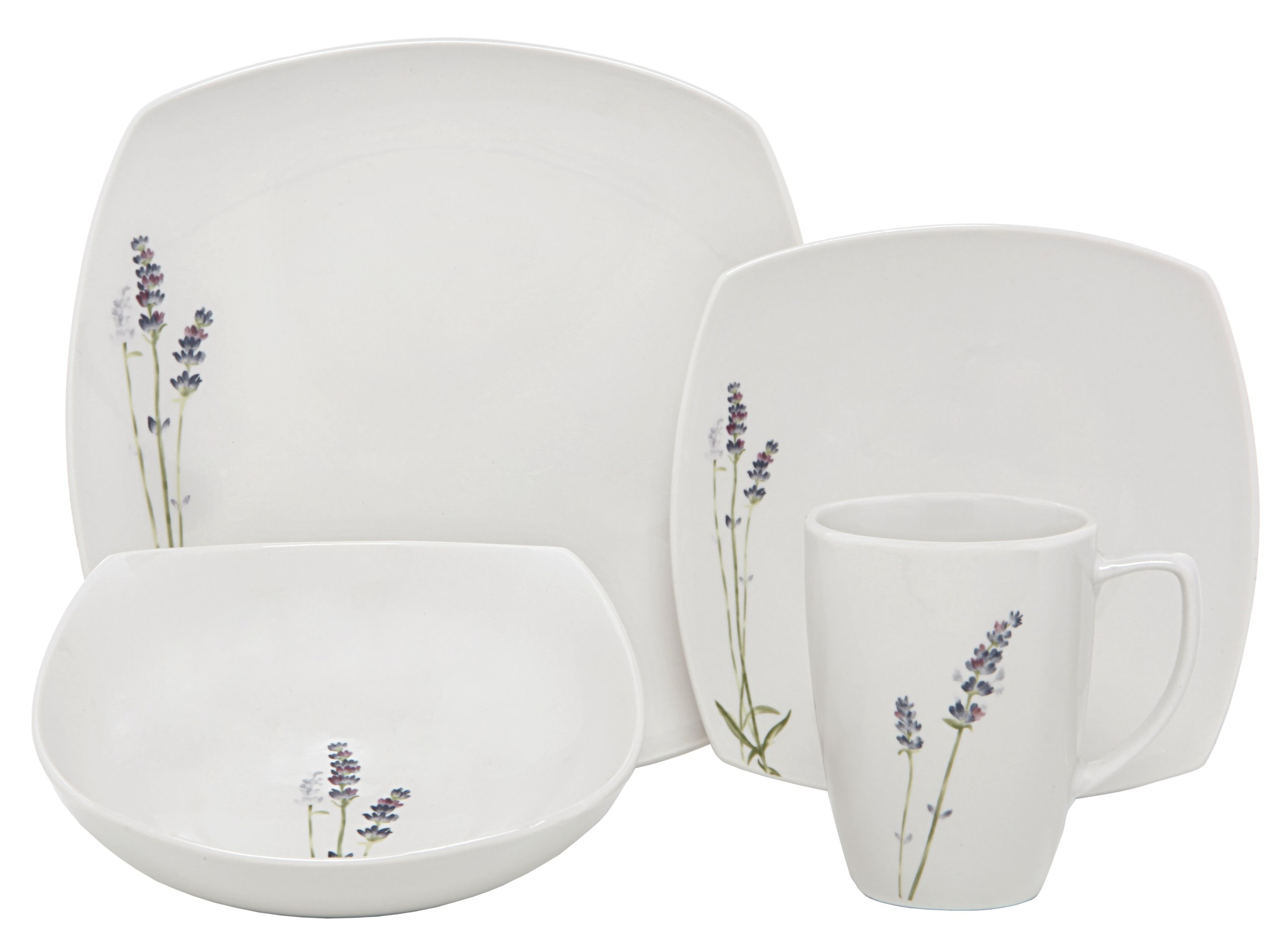 Melange Square 32-Piece Porcelain Dinnerware Set (Lavender) | Service for 8 | Microwave, Dishwasher & Oven Safe | Dinner Plate, Salad Plate, Soup Bowl & Mug (8 Each)