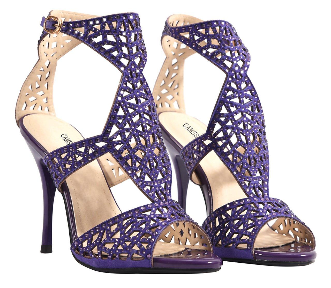 CAMSSOO Sandalias Vestido de Sandalias tacón Zapatos de mujer con ...