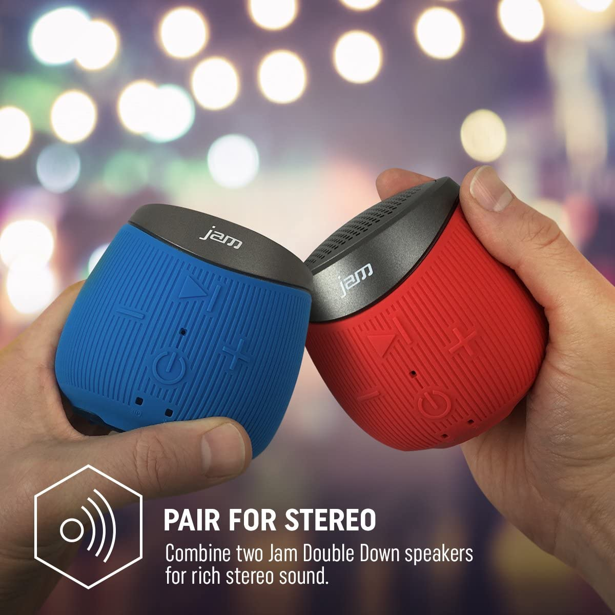 Jam Audio Double Down – Portable Bluetooth Wireless Speaker, Splash Proof,  Connect Any BT Device, 8m Range, Pair 8 for Stereo, Rechargeable 8hrs Play