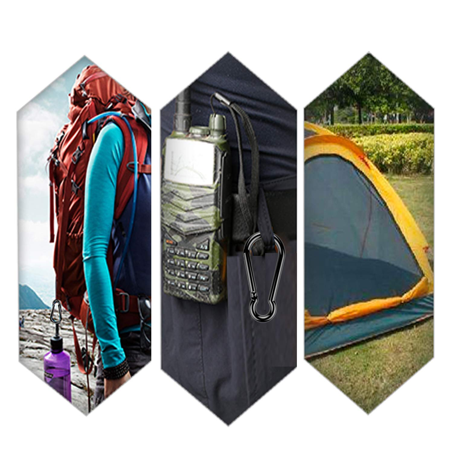 Durable Spring Snap Hook Key Chain Buckle Clips for Camping Hiking Fishing Traveling Aluminum Carabiner Clip