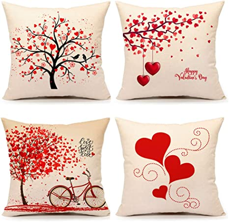Amazon Com 4th Emotion Valentines Day Throw Pillow Covers 18x18 Set Of 4 Red Love Heart Home Decorations Cushion Case For Sofa Couch Cotton Linen Home Kitchen