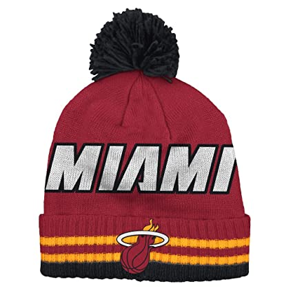 8cb32771e0c Amazon.com   adidas Miami Heat Bold Wordmark Striped Cuff Pom Knit ...