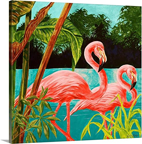 Hot Tropical Flamingo II Canvas Wall Art Print