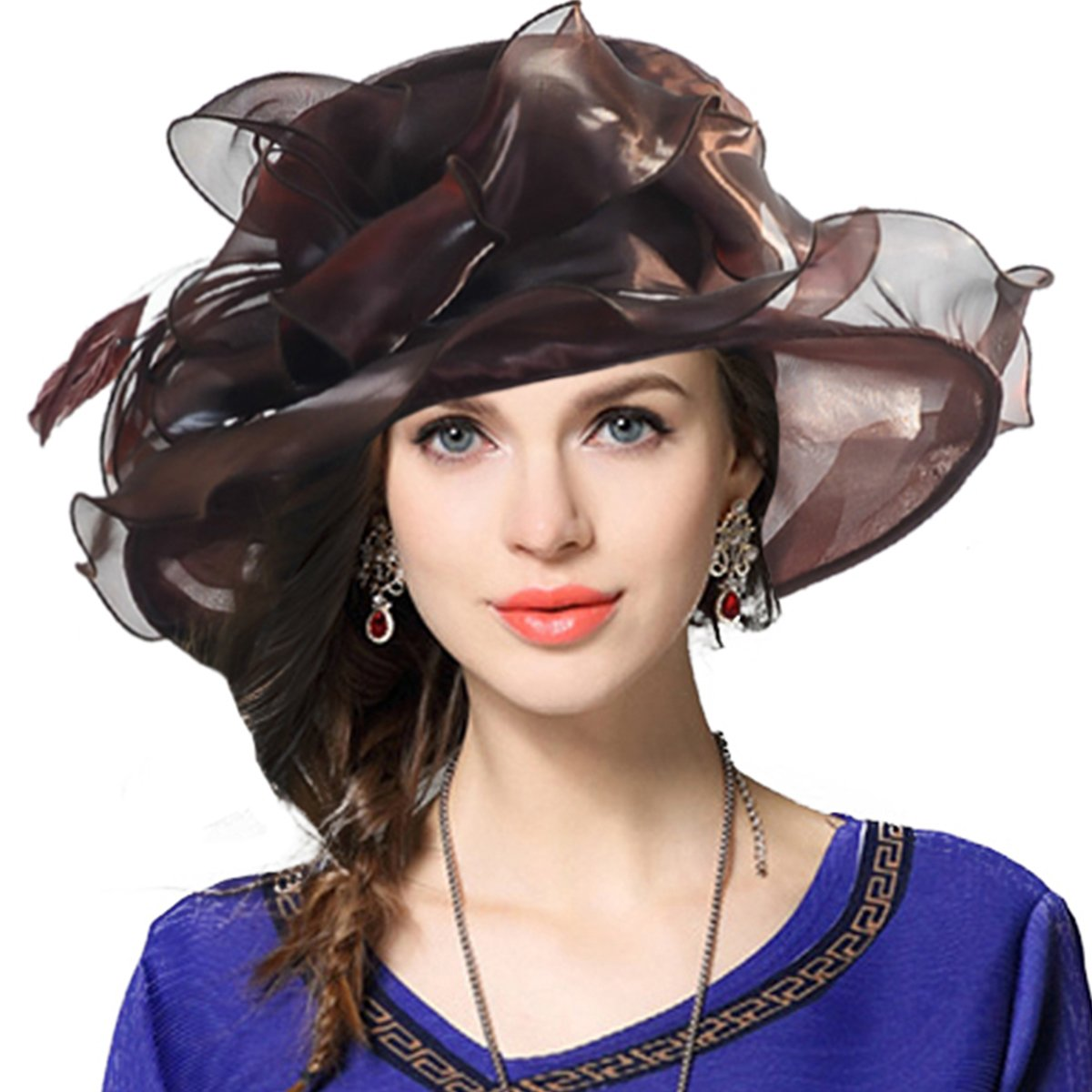 FORBUSITE Women Satin Organza Church Royal Ascot Derby Kentucky Wedding Party Hat