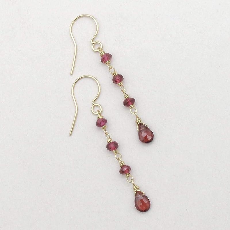 Rhodolite Garnet Earrings 14k Gold Filled Long Gem Earrings Garnet Long Drop Natural Rhodolite Garnet Lever Back Gold Gem Earrings