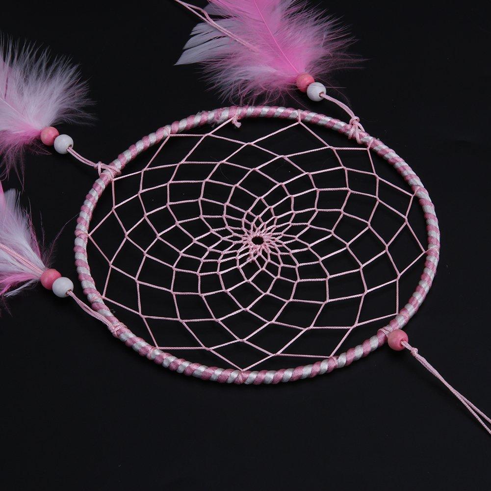 Rosa seawang Plumas atrapasue/ños Colgante de Pared hogar Coche decoraci/ón Adorno Manualidades