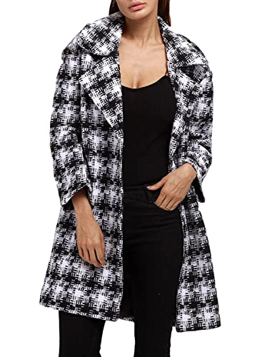 Azbro Mujer Abrigo Manga Larga Cuello Solapa Estampado Cuadrado Abertura Frontal
